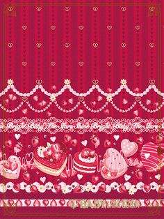 Bright Wallpaper, Kawaii Wallpaper, Wallpaper Backgrounds, Wallpapers, Pattern Art, Pattern Design, Doll House Wallpaper, Angelic Pretty, Valentine Decorations