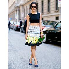 Nausheenshah is wearing: Topshop shirt; Isolda skirt; Gianvito Rossi heels; Valentino sunglasses.??  See more ways to wear graphic skirts on Pose.com.
