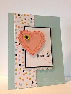 cute friends card to use for valentine's day. Made using Hearts A Flutter stamp set from Stampin' Up!