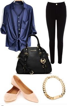 Like the outfit & accessories, but would change the peach flats with a white, blue, or black shoes.