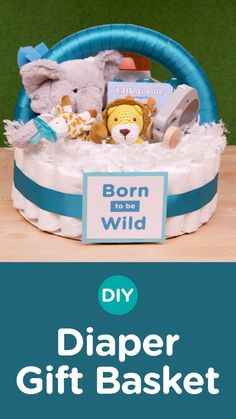 DIY Diaper Gift Basket: Set the parents-to-be up right, make this DIY Diaper Gift Basket, complete with #Pampers Swaddlers Diapers and all the newborn essentials like bottles, onesies, books, and more. This gift is not only fun but also functional with all the newborn baby essentials presented in an adorable diaper gift basket! #ad #babyshower