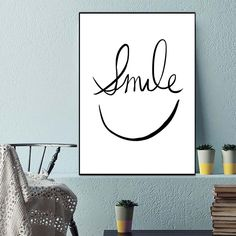 """""""Minimalist Art Motivational Black White Smile Face Canvas Painting Poster Abstract Picture Modern Home Office Room Decor"""" Office Wall Art, Office Walls, White Smile, Motivational Wall Art, Abstract Pictures, Nordic Art, Room Decor, Wall Decor, Smile Face"""