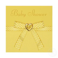 Elegant yellow & gold baby shower invites with a beautiful bow and pretty sparkle bling jewel heart. $1.90. Easy to personalize. Good volume discounts. Printed both sides.
