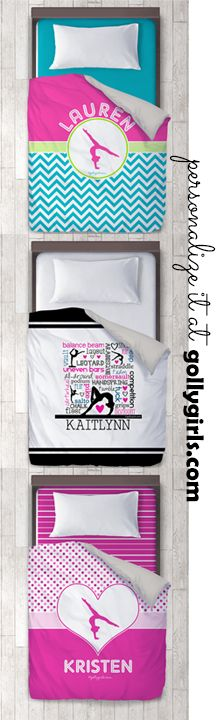 Personalize your own gymnastics themed duvet cover.  Great idea for decorating a room for a gymnast.  Sold only at gollygirls.com