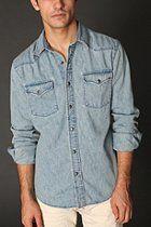 Salt Valley Vintage Denim Western Shirt  #UrbanOutfitters