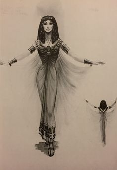 Edith Head costume rendering for Nefretiri