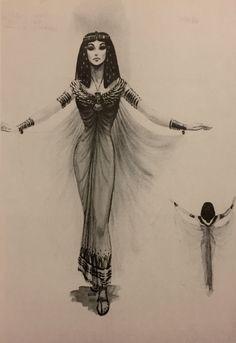 Edith Head costume rendering for Nefretiri