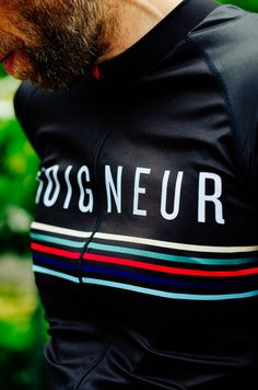 The official Soigneur Jersey. http://shop.soigneur.nl/ --- We're imagining the company name, then below having stripes of high visibility material.
