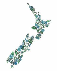 New Zealand Patterned Blue Green Art Print by ArtbyTheLittleLeaf