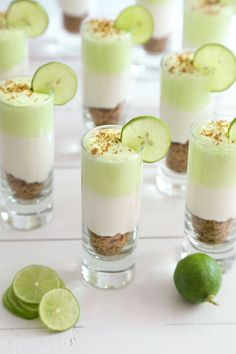 5 Super Easy and Delicious Dessert Shooters - top 5 inspired things Key Lime Cheesecake Shots Recipe from I would try to add I'm KeKe Beach liquor Wedding Food Dessert Shot Glasses 65 Ideas For 2019 Buffet Table Ideas—Decorating & Styling Tips by a Pro Mini Desserts, Shot Glass Desserts, Fluff Desserts, Brownie Desserts, Easy Desserts, Parfait Desserts, Key Lime Desserts, Small Desserts, Unique Desserts