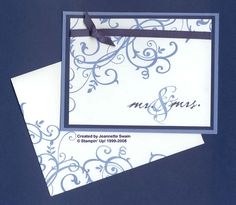 Great wedding card idea I would emboss some of the swirls, just to dress it up a bit.