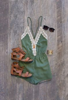 - Details - Size Guide - Model Stats - Contact This romper is the journey of love at its finest! Our Love Quest Lace Romper in olive features a lightweight fabric with a crochet lace detailed, deep V-