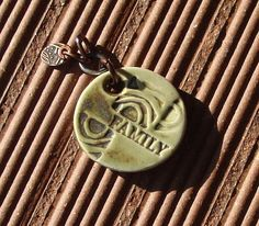Family Inspired Pendant Porcelain Clay Patina Celadon by Artgirl56