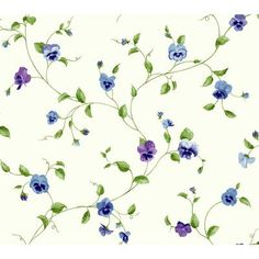 "York Wallcoverings Kitchen and Bath Pansy Trail 27' x 27"" Floral and Botanical Smooth Wallpaper Color:"