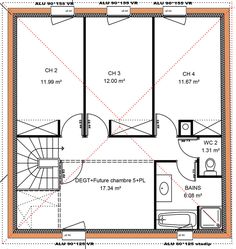149 m² - 4 chambres - 1 étage - VUE ETAGE House Floor Plans, Sweet Home, How To Plan, Architecture, Inspiration, Decor, Houses, Interiors, House Blueprints