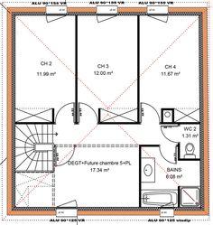 149 m 4 chambres 1 tage vue etage - Plan Maison Etage 4 Chambres 1 Bureau