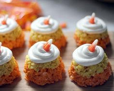 "halloween ""in the house"" – candy corn rice krispie treats (sub GF rice cereal, carrot juice/tumeric for food dye?)"