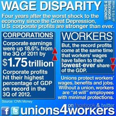 Unions protect workers' wages, benefits, and jobs!  THOSE WHO HATE UNIONS DON'T KNOW  THE SACRIFICE MADE ON THEIR BEHALF!  CORPERATE GREED IS THE PROBLEM, NOT THE PEOPLE WANTING LIVING WAGES--NOTHING MORE THAN TO BE ABLE TO SUPPORT THEMSELVES AND THEIR FAMILIES.  WHO CAN FIND FAULT WITH THAT?