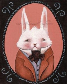 "Victorian bunny rabbit art print, ""Bunny Cabinet Portrait"""