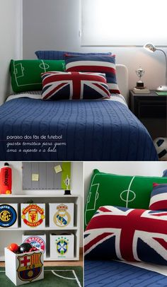 For soccer lovers. Boys Soccer Bedroom, Soccer Room, Teen Bedroom, Bedroom Ideas, Football Rooms, Football Bedroom, Room Themes, New Room, Home Interior Design