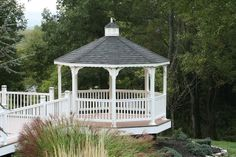 Vinyl Gazebo on Patio/deck- We delivery fully assembled gazebos throughout eastern Ontario and Quebec. Visit us online for fully price list ncsshelters.com