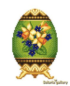 SOLARIA GALLERY > Elegant Cross Stitch Design of Easter Egg in Faberge style > Price US$ 2.49