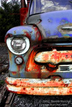 rusty old chevy truck in Belgium
