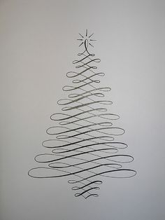 Christmas crafts and ideas! Simple Calligraphy Christmas Tree Card
