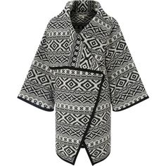 Collection WEEKEND by John Lewis Blanket Weave Jacket, Black/Ivory (156,670 KRW) ❤ liked on Polyvore featuring outerwear, jackets, oversized jacket, john lewis, long sleeve jacket, black jacket and short jacket