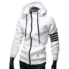 548d4a60b44a Casual Drawstring Hooded Stripes Spliced Front Pocket Long Sleeves Men s  Slimming Hoodie - White - Xl