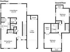 NS Great Lakes – Nimitz Village Community: 2 Bedroom Town Home Floor Plan.