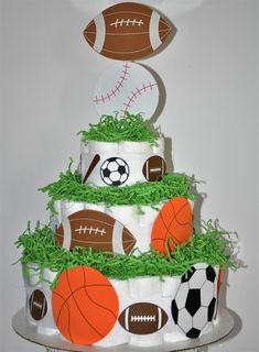 Sports Themed Diaper Cake Football by InspiredBySophiaRita on Etsy