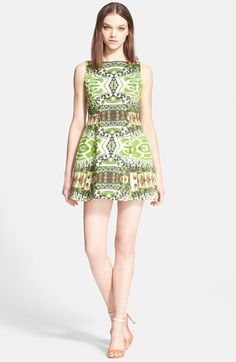 Alice + Olivia 'Carrie' Print Stretch Cotton Fit & Flare Minidress available at #Nordstrom