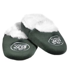 NFL New York Jets Baby Bootie Slippers by Forever Collectibles. $6.58. Footwear. Officially licensed. Your little superfan will love the Team Beans® NFL® baby bootie, which is decorated in bold team colors and designed with the team logo on the front. It's crafted using soft polyester with a cozy lining, and the non-slip beaded sole offers great grip on a variety of surfaces.