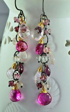 Pink Multi Gemstone Long Dangle Cluster by skyvalleyjewelry, $158.00