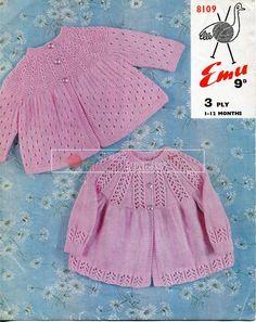 Knitting Patterns Vintage baby matinee coat set vintage knitting pattern PDF by Ellisadine Knitting Terms, Knitting For Kids, Baby Knitting Patterns, Baby Patterns, Vintage Patterns, Crochet Patterns, Cardigan Bebe, Baby Cardigan, Crochet Baby