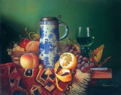 "Raymond Campbell (born 1956), British Still Life Artist. Raymond Campbell is most recognised for his curious paraphernalia arrangements, reminiscent of the 17th Century Dutch painters. These unique tableaux can be identified by their detailed precision and classically ""Campbell-esque"" contents including vintage wine bottles and sepia photographs."