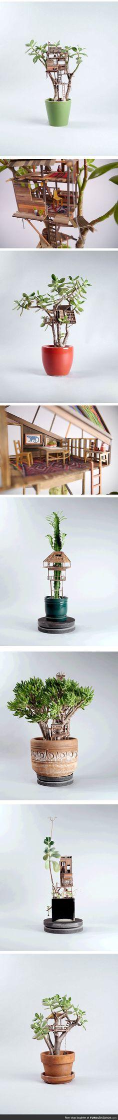 Also a super cute doll house!::: Miniature Tree Houses Make Houseplants Way More Interesting Miniature Trees, Miniature Houses, Fairy Houses, Tree Houses, Decor Terrarium, Decoration Plante, Deco Originale, House Made, Little Houses