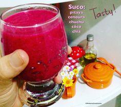 Suco de pitaya, cenoura, chuchu, côco e chia: Delicioso e refrescante, sem coar e sem adição de açúcar!