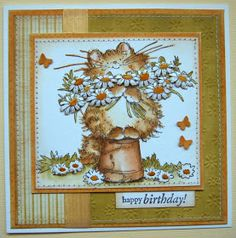 sweet handmade birthday card from Ullis craft workshop  ... beautiful coloring of Penny Black image ... cat with daisies ...