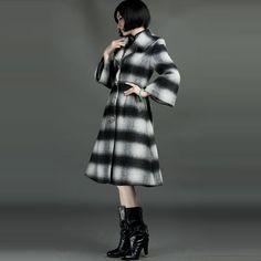 Classic Rabitt Wool Blend Stripes Overcoats Black And White - $329 - SKU: 892830 - Buy Now: http://elegente.com/nzx.html #ChineseladyQipao #Qipao #Cheongsam