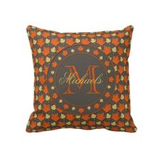 TBA Leaves of Autumn Monogram Pillow by hhtrendyhome