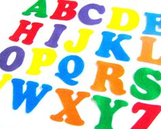 Rainbow Felt Alphabet Letters  Fabric by NewEnglandQuilter on Etsy