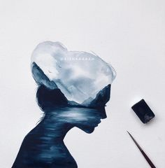 Like times, 78 comments - عائشة أحمد (Aishaaaaah) on Instagr . Arte Sketchbook, Silhouette Painting, Galaxy Painting, Art Plastique, Cute Drawings, Art Inspo, Art Sketches, Painting & Drawing, Amazing Art