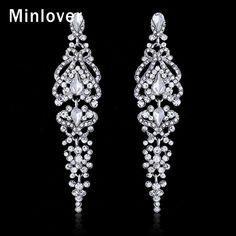 Kolczyki Kryształowe Kolczyki Zwisają Długie Ślubne Minlover dla Bridal Srebrny Kolor Rhinestone Mody Akcesoria EH291 w                                                                                                                          od Drop Earrings na Aliexpress.com | Grupa Alibaba