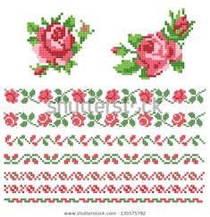 Find Floral Decorative Element Lappet stock images in HD and millions of other royalty-free stock photos, illustrations and vectors in the Shutterstock collection. Cross Stitch Bookmarks, Cross Stitch Rose, Cross Stitch Borders, Cross Stitch Flowers, Cross Stitching, Cross Stitch Patterns, Hand Embroidery Flowers, Embroidery Patterns, Knitting Charts