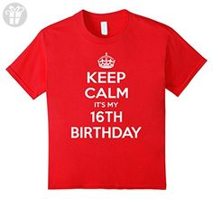 Kids Keep Calm It's My 16th Birthday Gift Idea T Shirt 10 Red - Birthday shirts (*Amazon Partner-Link)