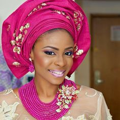 Pink and gold Nigerian wedding. Beautiful bride!