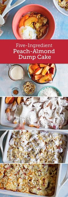 Juicy fresh peaches, yellow cake mix, butter and crunchy almonds give this easy dump-and-bake cake major summer appeal. Fresh peaches hard to find? You can use any combination of fruits you'd find in a pie or crumble, or use any nut you like for the top or omit the nuts altogether!