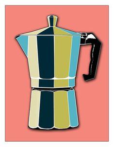 Retro Coffee Pot - Kitchen Wall Art - Kitchen Wall Decor. $20.00, via Etsy.